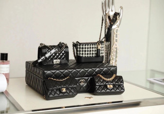Chanel Set Of 4 Mini Bags with Jewelry Box Calfskin/Tweed/Lambskin Leather Fall/Winter 2020 Collection, Black