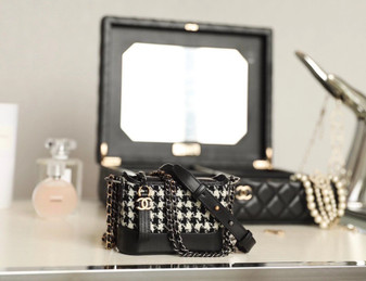 Chanel Mini Gabrielle Bag Tweed/Calfskin Leather Silver Hardware Fall/Winter 2020 Collection, Black
