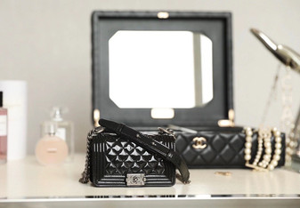 Chanel Mini Leboy Bag Patent Calfskin Leather Silver Hardware Fall/Winter 2020 Collection, Black