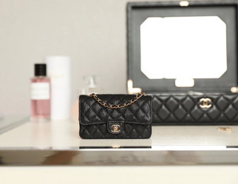 Chanel Mini Classic Flap Bag Caviar Leather Gold Hardware Fall/Winter 2020 Collection, Black