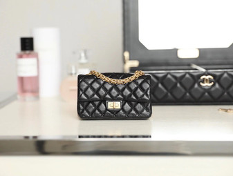 Chanel Mini 2.55 Bag Lambskin Leather Gold Hardware Fall/Winter 2020 Collection, Black