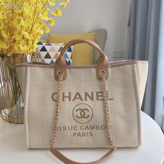 Chanel Deauville Tote 36cm Canvas Bag A066941 Fall/Winter 2020 Collection, Beige