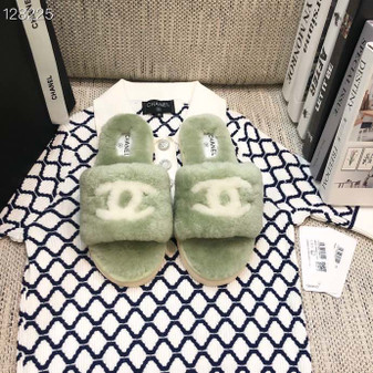 Chanel CC Fur  Slippers  Fall/Winter 2020 Collection,  Green