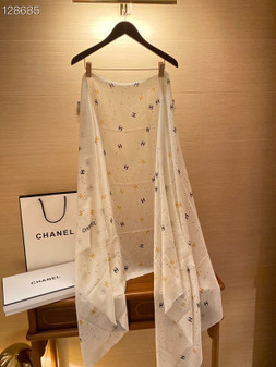 Chanel  Cashmere Shawl Scarf 200cm Fall/Winter 2020 Collection,  White