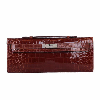 Hermes Kelly Cut Crocodile Lisse Fully Handstitched , Bordeaux