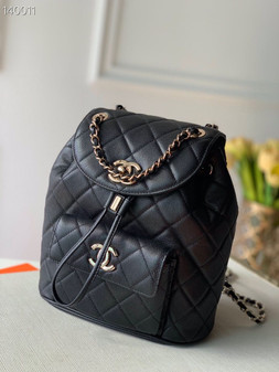 Chanel Duma Backpack 24cm Gold Hardware Caviar Leather Fall/Winter 2020 Collection, Black