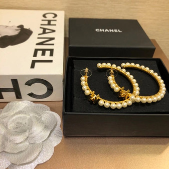 Chanel Pearl Embellished Hoop Earrings 98375 Fall/Winter 2020 Collection, Gold