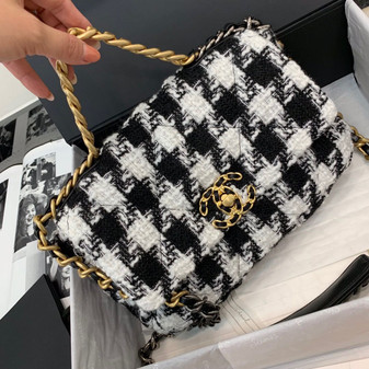 Chanel 19 Flap Bag 30cm Sheepskin Leather Fall/Winter 2020 Collection, Black/White