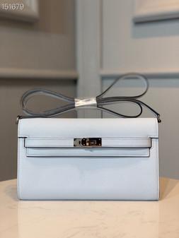 Hermes Kelly To Go Bag 20cm Palladium Hardware Epsom Leather Fully Handstitched, Blume Brume