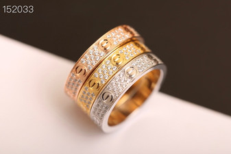 Cartier 3 Row Fully Paved Love Ring