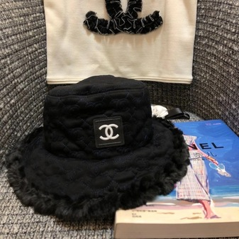 Chanel Logo Fur Bucket Hat Fall/Winter 2020 Collection, Black