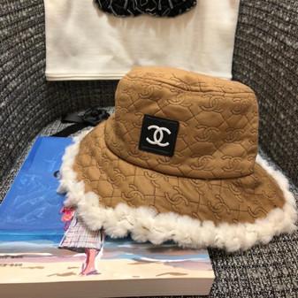 Chanel Logo Fur Bucket Hat Fall/Winter 2020 Collection, Tan