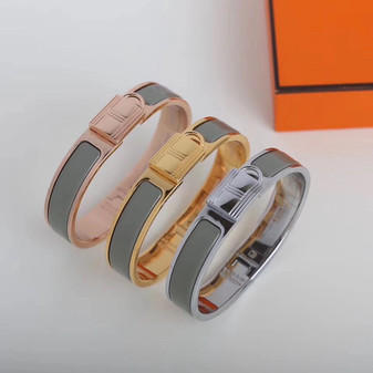 Hermes Clic Anneau Bracelet, Grey