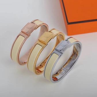Hermes Clic Anneau Bracelet, Jaune Possin