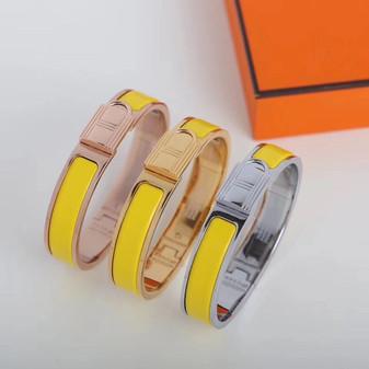 Hermes Clic Anneau Bracelet, Jaune Tennis