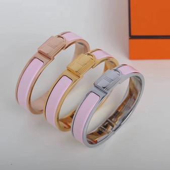 Hermes Clic Anneau Bracelet, Pink