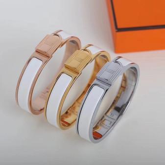Hermes Clic Anneau Bracelet, White