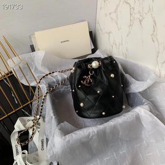 Chanel Pearl Embellished Bucket Bag 25cm Lambskin Leather Gold Hardware Cruise 2021 Seasonal Collection, Black