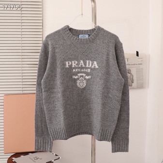 Prada Intarsia Knit Logo Jumper Sweater Fall/Winter 2020 Collection, Grey
