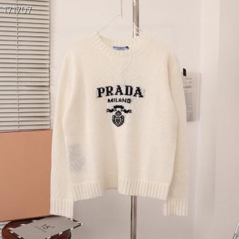 Prada Intarsia Knit Logo Jumper Sweater Fall/Winter 2020 Collection, White
