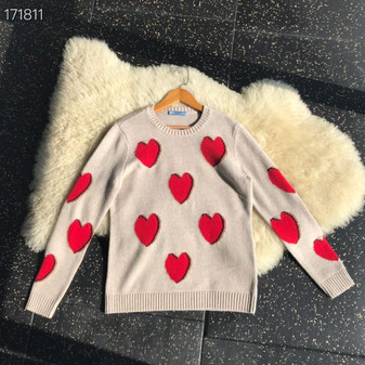 Prada Heart Jacquard Knit Jumper Sweater Fall/Winter 2020 Collection, Beige/Red