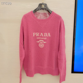 Prada Intarsia Knit Logo Jumper Sweater Fall/Winter 2020 Collection, Pink