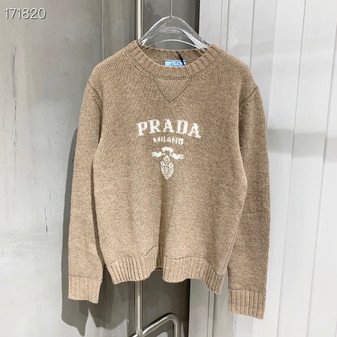 Prada Intarsia Knit Logo Jumper Sweater Fall/Winter 2020 Collection, Beige