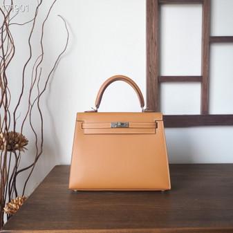 Hermes Sellier Kelly Bag 25cm Swift Leather Fully Handstitched , Naturel Sable Butler