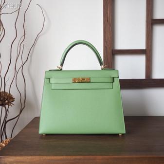 Hermes Sellier Kelly Bag 28cm Epsom Leather Fully Handstitched, Vert Anis Green 3I