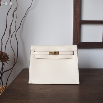 Hermes Kelly Danse II 22cm Evercolor Leather Fully Handstitched, Nata White CCI2
