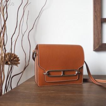 Hermes Roulis 19cm Barenia Leather Palladium Hardware Fully Handstitched, Barenia Faubourg