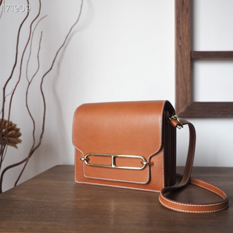 Hermes Roulis  19cm Evercolor Leather Gold Hardware Fully Handstitched, Barenia Faubourg