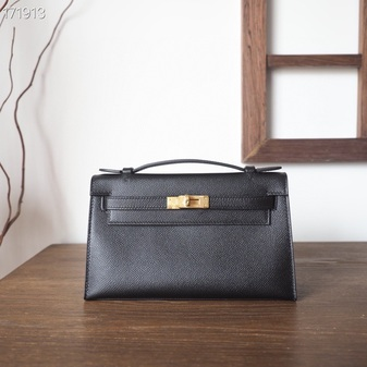Hermes Mini Kelly Pochette KP Bag 22cm Epsom Leather Fully Handstitched, Noir CK89