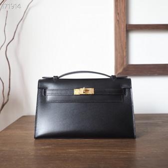 Hermes Mini Kelly Pochette KP Bag 22cm Box Leather Fully Handstitched, Noir CK89