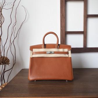 Hermes Birkin Bag 25cm Barenia Leather Fully Handstitched, Barenia Faubourg
