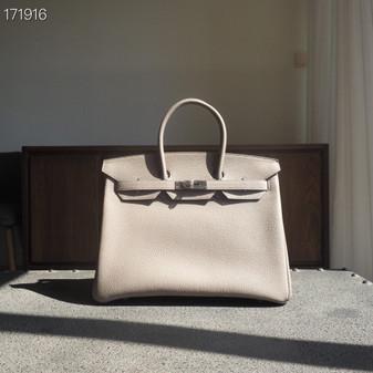 Hermes Birkin Bag 35cm Togo Leather Fully Handstitched, Gris Asphalte M8