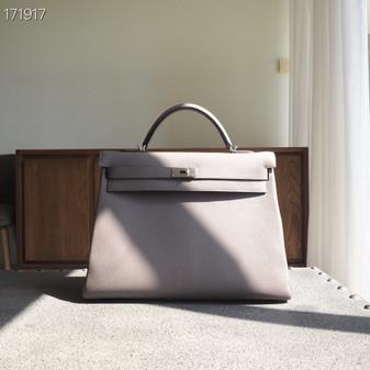 Hermes Birkin Bag 40cm Togo Leather Fully Handstitched, Gris Asphalte M8
