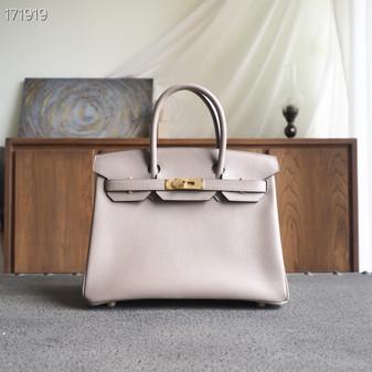 Hermes Birkin Bag 30cm Togo Leather Fully Handstitched, Gris Asphalte M8