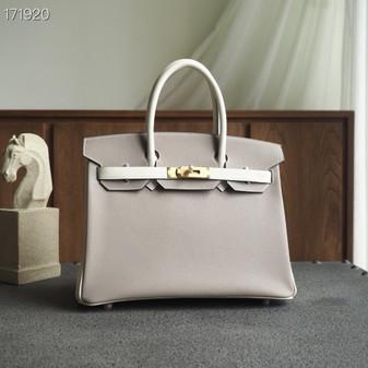 Hermes Horseshoe Birkin Bag 30cm Evercolor Leather Fully Handstitched, Gris Asphalte M8/Blanc CK10