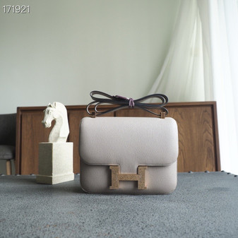 Hermes Constance 19cm Bag Epsom Leather Fully Handstitched, Gris Asphalte M8