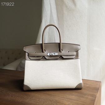 Hermes Birkin Bag 35cm H Toile Canvas/Swift Leather Fully Handstitched, Etoupe CK18