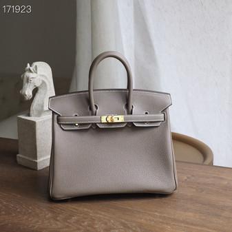 Hermes Birkin Bag 25cm Togo Leather Fully Handstitched, Etoupe CK18