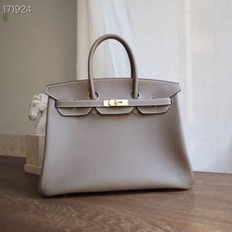 Hermes Horseshoe Birkin Bag 35cm Togo Leather Fully Handstitched, Etoupe CK18/Rose Sakura 3Q