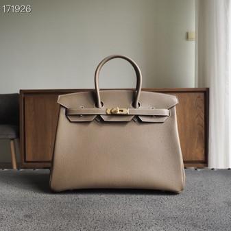 Hermes Birkin Bag 40cm Togo Leather Fully Handstitched, Etoupe CK18