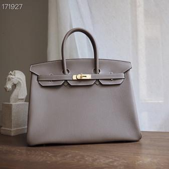 Hermes Birkin Bag 35cm Togo Leather Fully Handstitched, Etoupe CK18