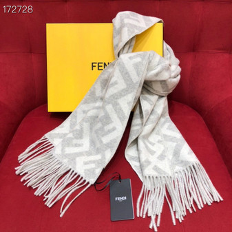 Fendi FF Logo Cashmere Shawl Scarf 190cm Fall/Winter 2020 Collection, White/Beige