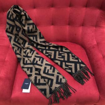 Fendi FF Logo Cashmere Shawl Scarf 190cm Fall/Winter 2020 Collection, Brown/Beige