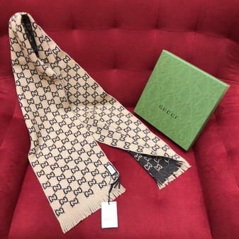 Gucci GG Cashmere Shawl Scarf 180cm Fall/Winter 2020 Collection, Brown/Beige