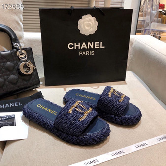 Chanel Woven CC Logo Sandals Rattan/Lambskin Leather Spring/Summer 2021 Collection, Navy Blue