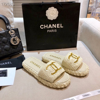 Chanel Woven CC Logo Sandals Rattan/Lambskin Leather Spring/Summer 2021 Collection, Beige